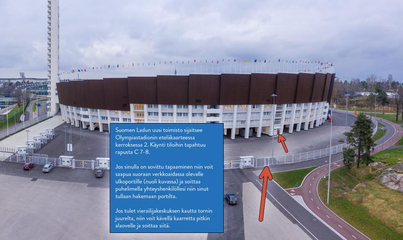 Suomen Ladun toimisto sijaitsee Olympiastadionin eteläkaarteessa